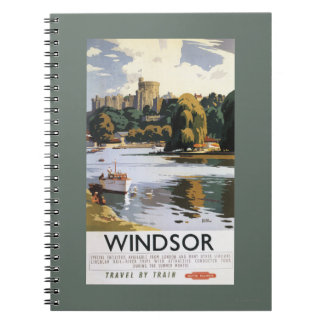 British Railways Windsor Castle Thames Poster Spiral Notebooks