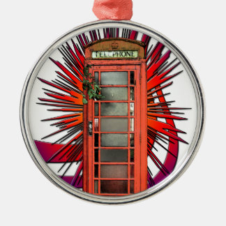 British Red Telephone Box Art Christmas Ornament