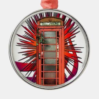 British Red Telephone Box Art Silver-Colored Round Decoration