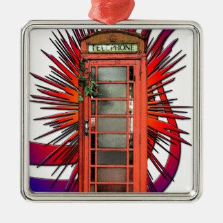 British Red Telephone Box Art Silver-Colored Square Decoration
