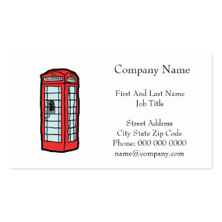 British Red Telephone Box Cartoon Illustration Pack Of Standard Business Cards