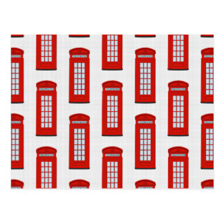 British Red Telephone Box Pattern Postcard