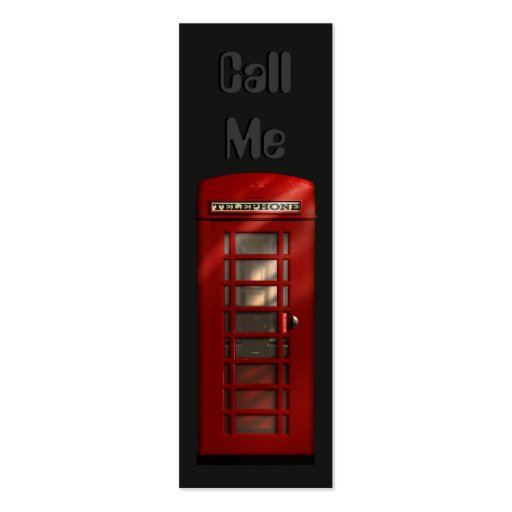 British Red Telephone Box Skinny Profile Cards Business Card Template