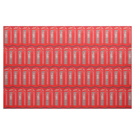 British Red Theme London Phone Booth Fabric