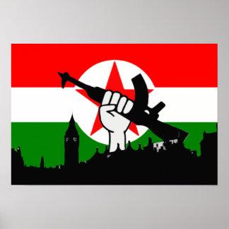 British Republican Fighters Flag above Parliament Print
