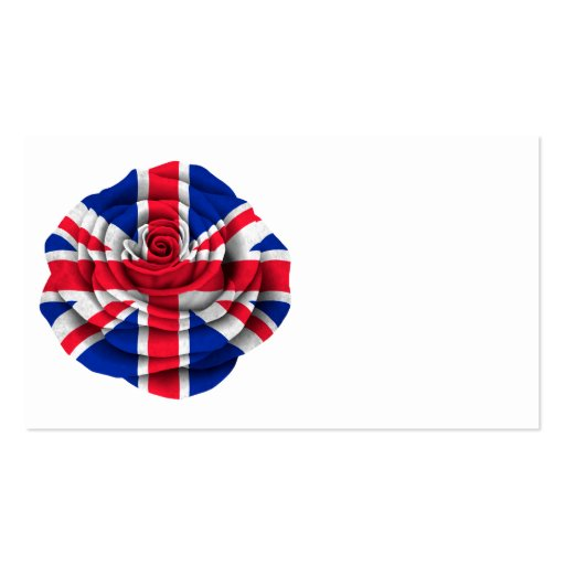 British Rose Flag on Black Business Card