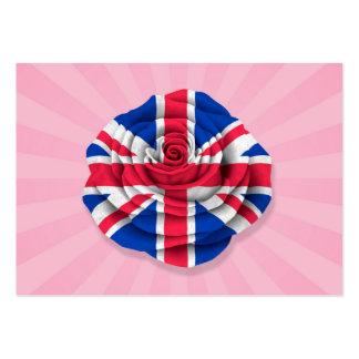 British Rose Flag on Pink Business Cards