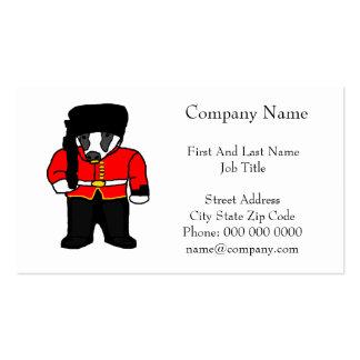 British Royal Guard Badger Cartoon Illustration Pack Of Standard Business Cards