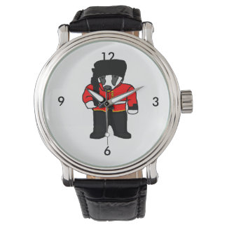 British Royal Guard Badger Cartoon Illustration Wristwatch