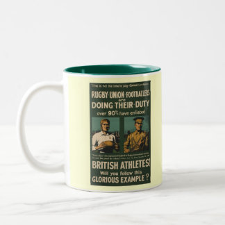 British rugby, football players call for duty Two-Tone coffee mug