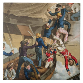 British Sailors Boarding a Man of War, engraved by Large Square Tile