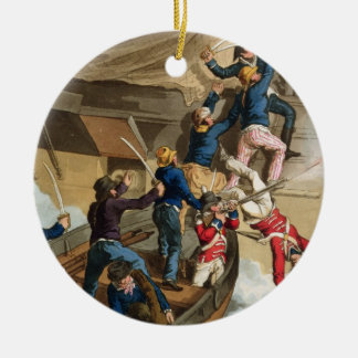 British Sailors Boarding a Man of War, engraved by Round Ceramic Decoration
