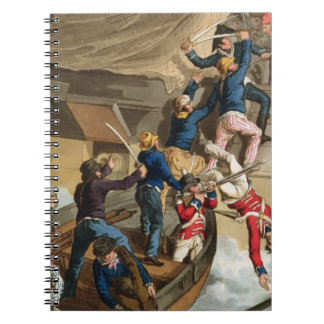 British Sailors Boarding a Man of War, engraved by Spiral Notebook