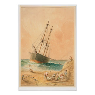 "British ship ""Viscata"" Beached (0533A) Poster"
