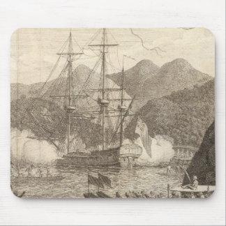 British Ships Firing at Tahiti Mouse Mat