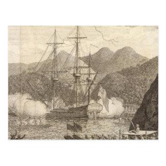British Ships Firing at Tahiti Postcards