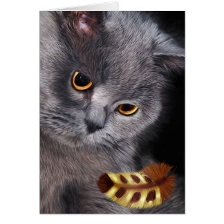 British Short-Hair Cat Lover Painting Greeting Card