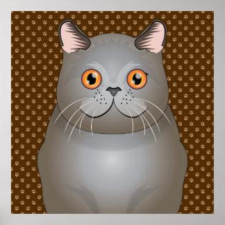 British Shorthair Cat Cartoon Paws Poster