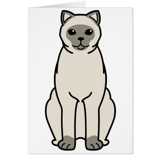 British Shorthair Colourpointed Cat Cartoon Card
