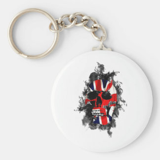 british skull basic round button key ring