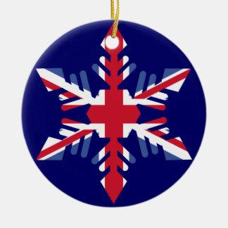 British Snowflake Christmas Ornament