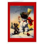 "British Snowman and Scotty Dog Saying ""Cheerio!"" Greeting Card"