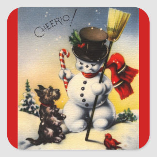 "British Snowman and Scotty Dog Saying ""Cheerio!"" Square Sticker"