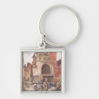 British Soldiers in the Ruins of Peronne, 1917 Silver-Colored Square Key Ring