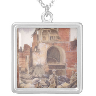 British Soldiers in the Ruins of Peronne, 1917 Square Pendant Necklace