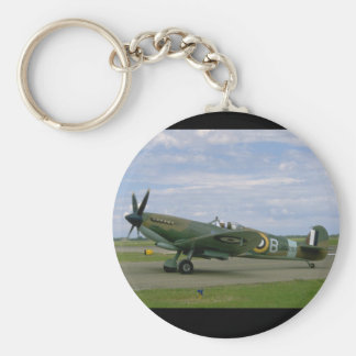 British Spitfire, Camouflage, Taxiing_WWII Planes Basic Round Button Key Ring