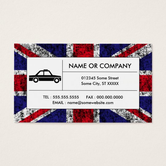 british taxi cab business card