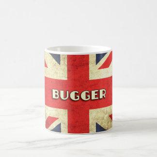 British Text on Union Jack Grunge   Bugger Basic White Mug