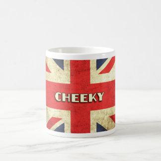 British Text on Union Jack Grunge   Cheeky Coffee Mug