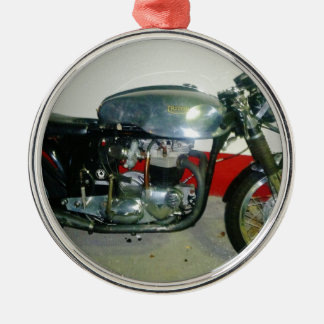 British Triton Motorcycle. Silver-Colored Round Decoration