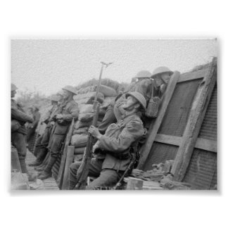 British Troops in Trenches Poster