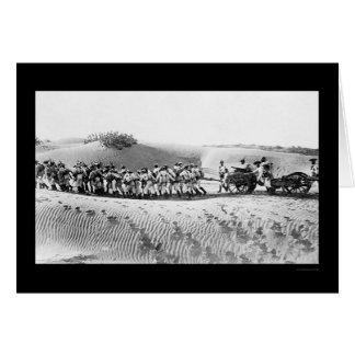 British Troops Pulling a Field Gun 1914 Greeting Card