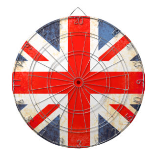 British UK flag antiqued style dart board