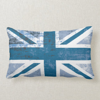 British UK Union Jack Flag in Grunge Blue Lumbar Pillow