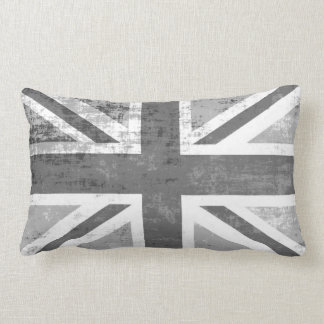 British UK Union Jack Flag in Grunge Grey Lumbar Cushion