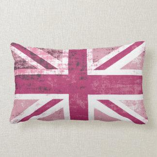 British UK Union Jack Flag in Grunge Pink Lumbar Pillow