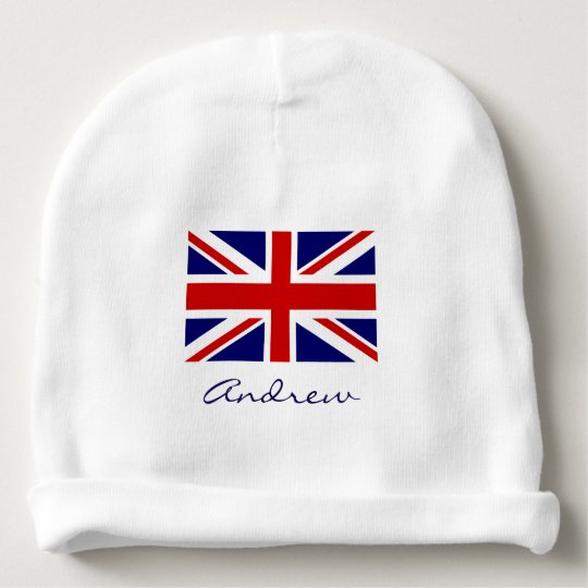 British Union Jack flag baby beanie hat for