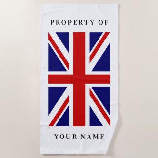 British Union Jack flag custom beach towel