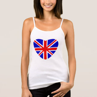 British Union Jack flag in heart shape. Tank Top