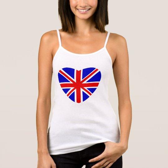 British Union Jack flag in heart shape. Tank