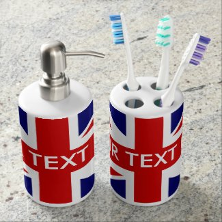 British Union Jack flag personalised bathroom set