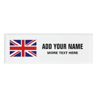 British Union Jack flag personalized name tags