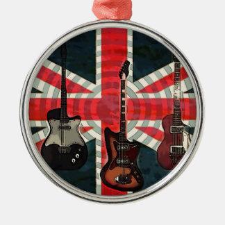 British Union Jack Flag Rock Roll Electric Guitar Christmas Ornament