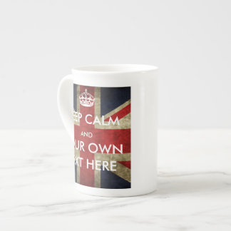 British Union Jack Keep Calm and Your Text Bone China Mug