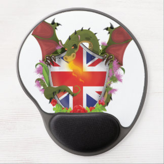 British Union Jack Shield and Dragon Gel Mouse Pad