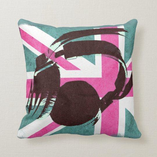 british union jack with deejay headphones cushion